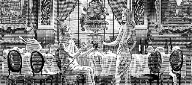Adam and Eve in a mansion